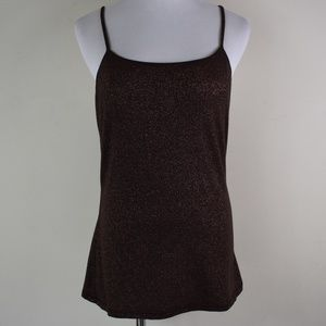 Express Large Brown Metallic Camisole W/Shelf Bra